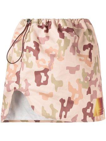 Green The Attico camouflage print mini skirt