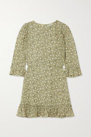 Net Sustain Doutzen Ruffled Floral-print Georgette Mini Dress - Green