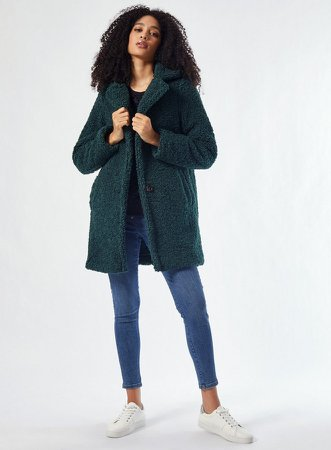 Green Long Teddy Coat