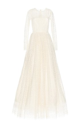 Lace Gown With Sleeves by Luisa Beccaria | Moda Operandi