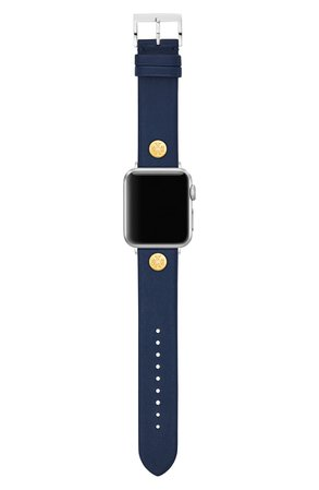 Tory Burch Leather Apple Watch® Strap | Nordstrom