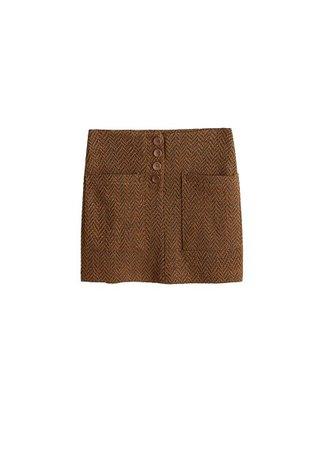 MANGO Herringbone buttons skirt