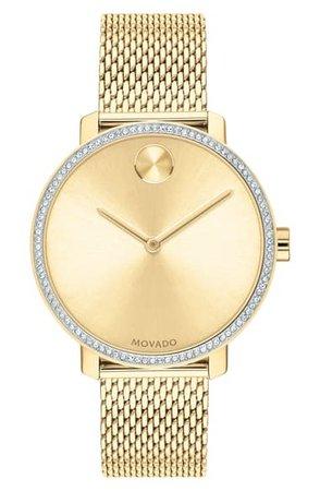 Movado Bold Crystal Bezel Mesh Strap Watch, 34mm | Nordstrom