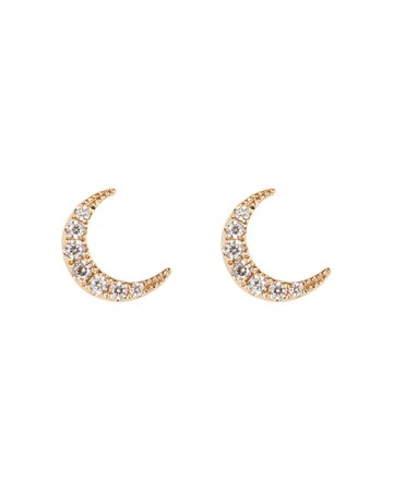 EF Collection | Mini Diamond Moon Studs | INTERMIX®