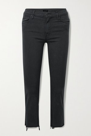 The Insider Crop Frayed High-rise Flared Jeans - Black