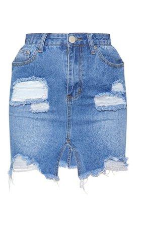 Mid Wash Distress Hem Denim Mini Skirt | PrettyLittleThing USA