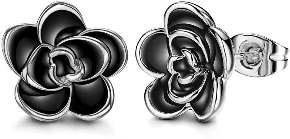 Black Rose Flower Stud Earrings