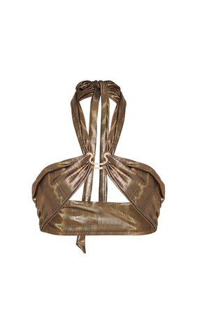 Metallic Wrap Around Snake Ring Bikini Top | PrettyLittleThing USA