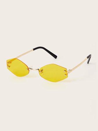Rimless Irregular Lens Sunglasses | ROMWE