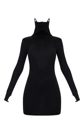 Black Jersey Long Sleeve Mask Bodycon Dress | PrettyLittleThing USA