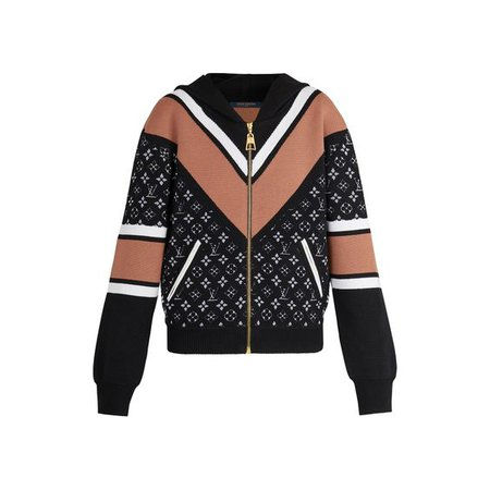 Long-Sleeved Jacquard Zip-Up Knit Hoodie - Ready to Wear   LOUIS VUITTON