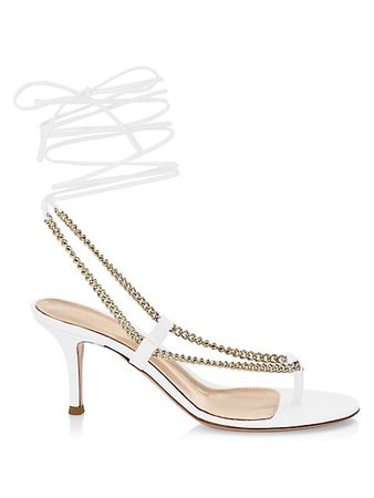 Gianvito Rossi Chain-Trimmed Ankle-Strap Leather Thong Sandals | SaksFifthAvenue