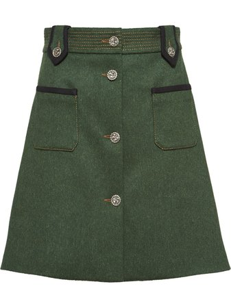 Miu Miu Loden Skirt MG1303I08 Green | Farfetch