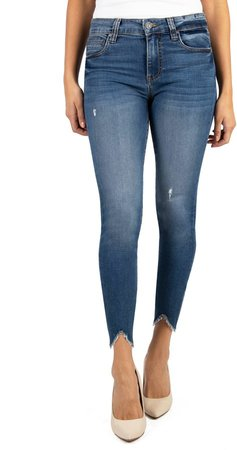 Connie High Waist Bitten Hem Ankle Skinny Jeans