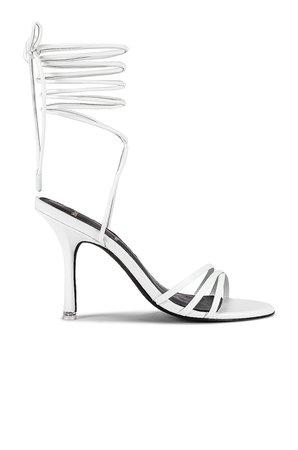 Black Suede Studio Leandra Sandal in White   REVOLVE