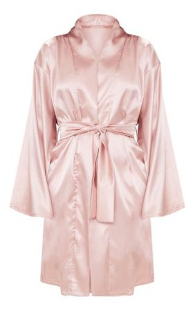 Dusty Pink Satin Robe | Nightwear & Onesies | PrettyLittleThing