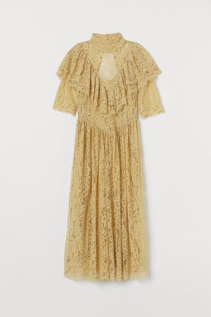Flounced Lace Dress - Yellow
