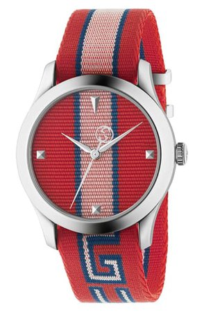 Gucci G-Timeless Nylon Strap Watch, 37mm | Nordstrom