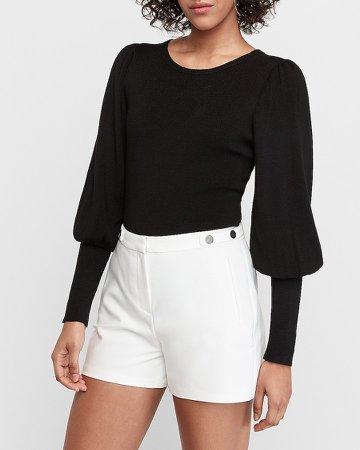 High Waisted Button Tab Shorts