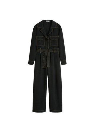 MANGO Contrast seam jumpsuit