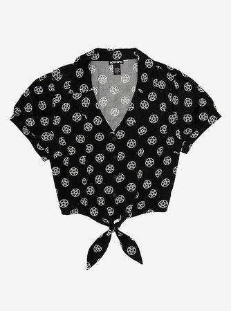 Pentagram Tie-Front Woven Girls Button-Up
