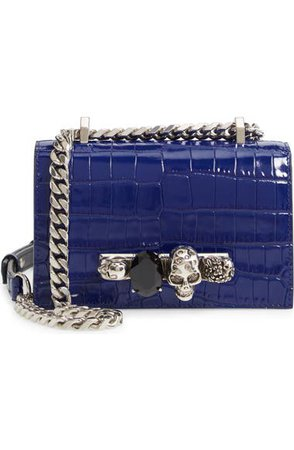 Alexander McQueen Mini Jewelled Croc Embossed Leather Crossbody Bag | Nordstrom