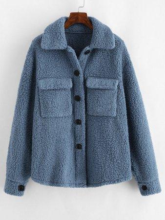 [32% OFF] 2020 ZAFUL Flap Pockets Faux Fur Teddy Coat In BLUE GRAY   ZAFUL