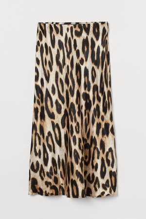 Calf-length Skirt - Beige