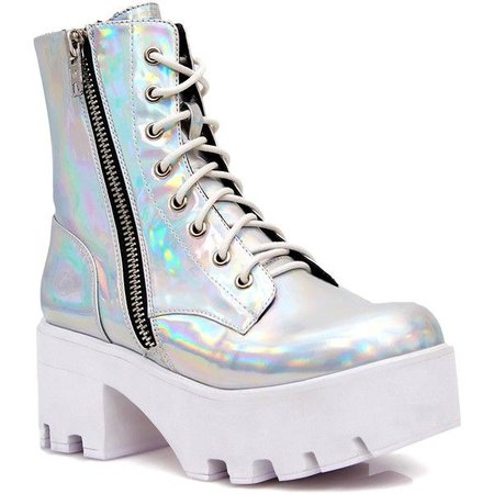 Platform Shoes Current Mood Chiller Holographic Platform Boots ($88) ❤ liked on Polyvore feat... - Boutique Page