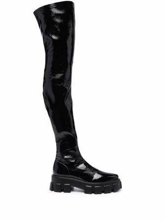 Prada lug-sole thigh-high Boots - Farfetch