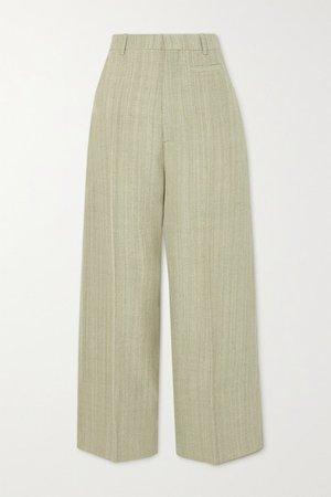 Santon Woven Wide-leg Pants - Green