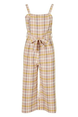 Linen Look Checked Culotte Dungaree | boohoo blush