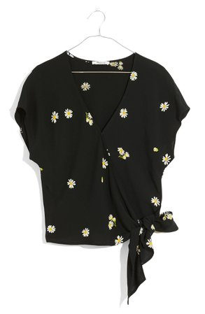 Madewell Lazy Daisies Sash Tie Wrap Top   Nordstrom