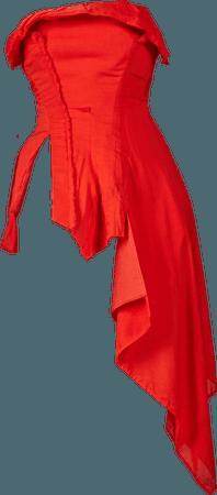 Yohji Yamamoto Red Asymmetric Hemline Bustier