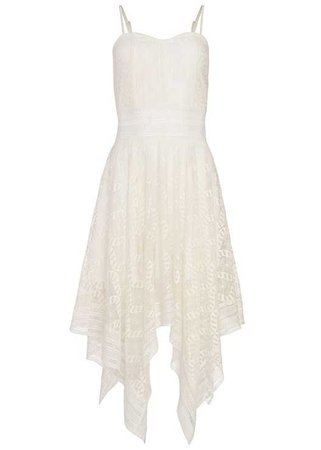 Lace Handkerchief Dress in White | VENUS