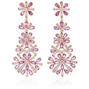 Hueb M'O Exclusive Pink Sapphire Chandelier Earrings