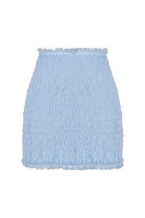 'Smiles' Powder Blue Shirred Mini Skirt - Mistress Rock