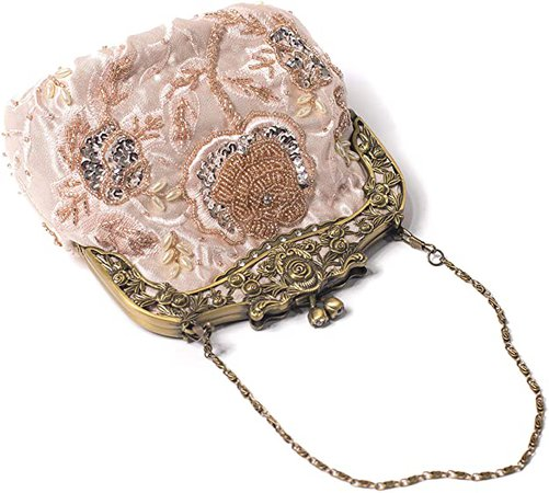 ILISHOP Women's Antique Beaded Party Clutch Vintage Rose Purse Evening Handbag (Champagne): Handbags: Amazon.com
