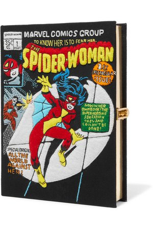 OLYMPIA LE-TAN Spider-Woman appliquéd cotton-canvas clutch