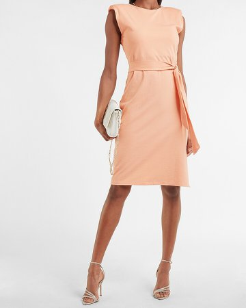 Belted Padded Shoulder T-Shirt Midi Dress