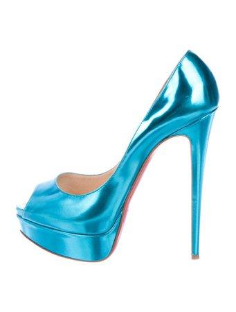 Christian Louboutin Lady Peep Metallic Leather Platform Pumps - Shoes - CHT119396 | The RealReal