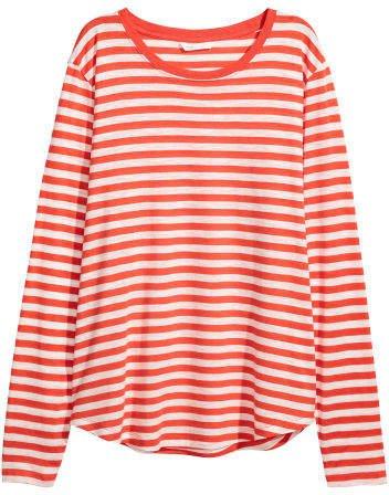 Long-sleeved Jersey Top - Orange