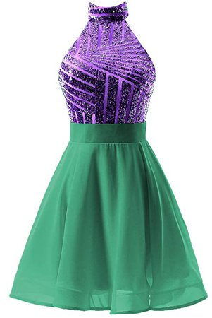 DYS Women's Short Halter Prom Party Dress Backless Homecoming Dress for Juniors at Amazon Women's Clothing store: