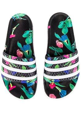 adidas Originals Adilette Slide in Black & White | REVOLVE