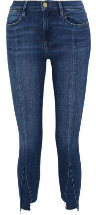 Le High Skinny Cropped Paneled High-rise Skinny Jeans