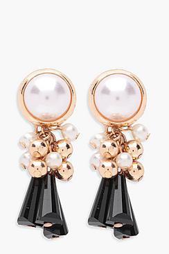 Pearl Statement Chunky Tassel Earrings
