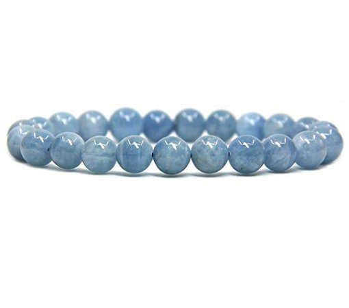 "Amazon.com: Natural Aquamarine Gemstone 8mm Round Beads Stretch Bracelet 7"" Unisex: Jewelry"