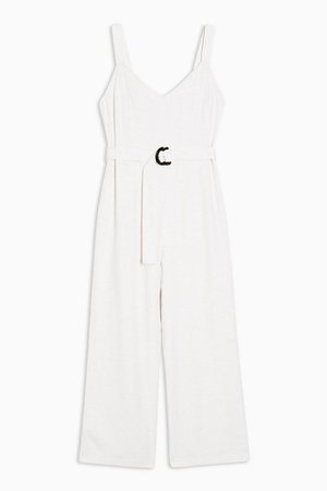 Cream Belted Jumpsuit With Linen | Topshop