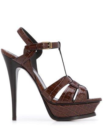 Saint Laurent Tribute crocodile-effect sandals - FARFETCH