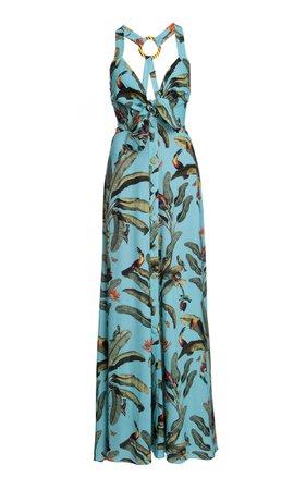 PatBO Tropical Print Halter Neck Maxi Dress